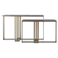 Etro Home Interiors Klee Consoles in Metal and Eramosa Marble Top