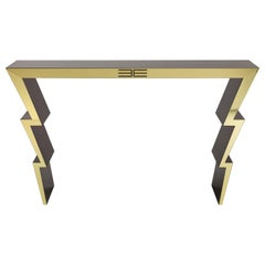 Etro Home Interiors Ziggy Console Tables in Wood and Polished Brass