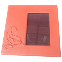 Etro Italian Orange Leather Photo Frame circa 21st C