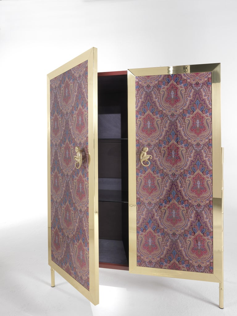 Modern Etro Janis Cabinet in Wood and Polished Brass For Sale