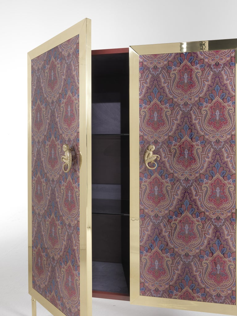 Italian Etro Janis Cabinet in Wood and Polished Brass For Sale