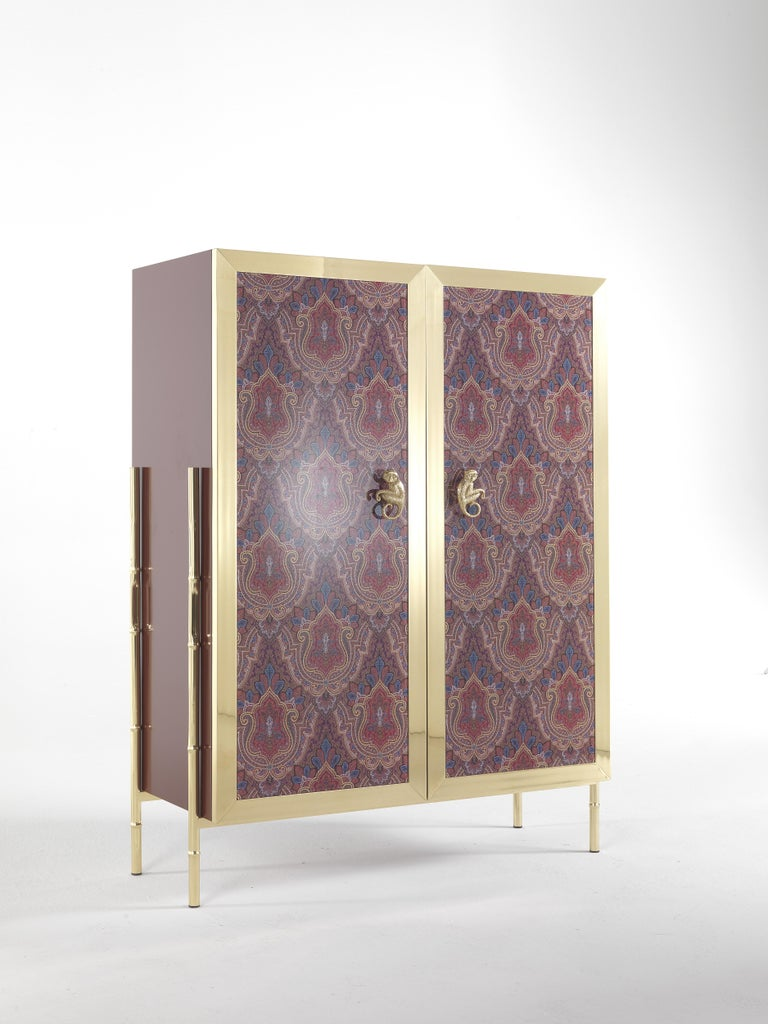 Etro Janis Cabinet in Wood and Polished Brass In New Condition For Sale In Cantu, IT