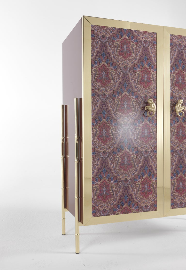 Contemporary Etro Janis Cabinet in Wood and Polished Brass For Sale