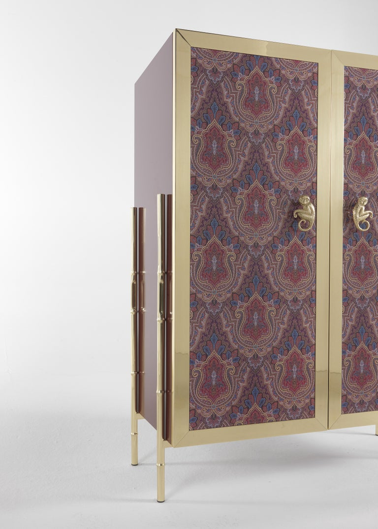 Etro Janis Cabinet in Wood and Polished Brass For Sale 1