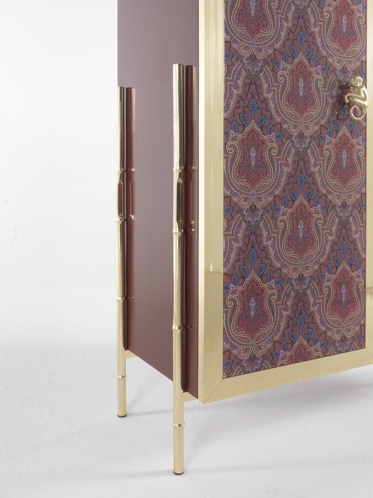 Etro Janis Cabinet in Wood and Polished Brass For Sale 2