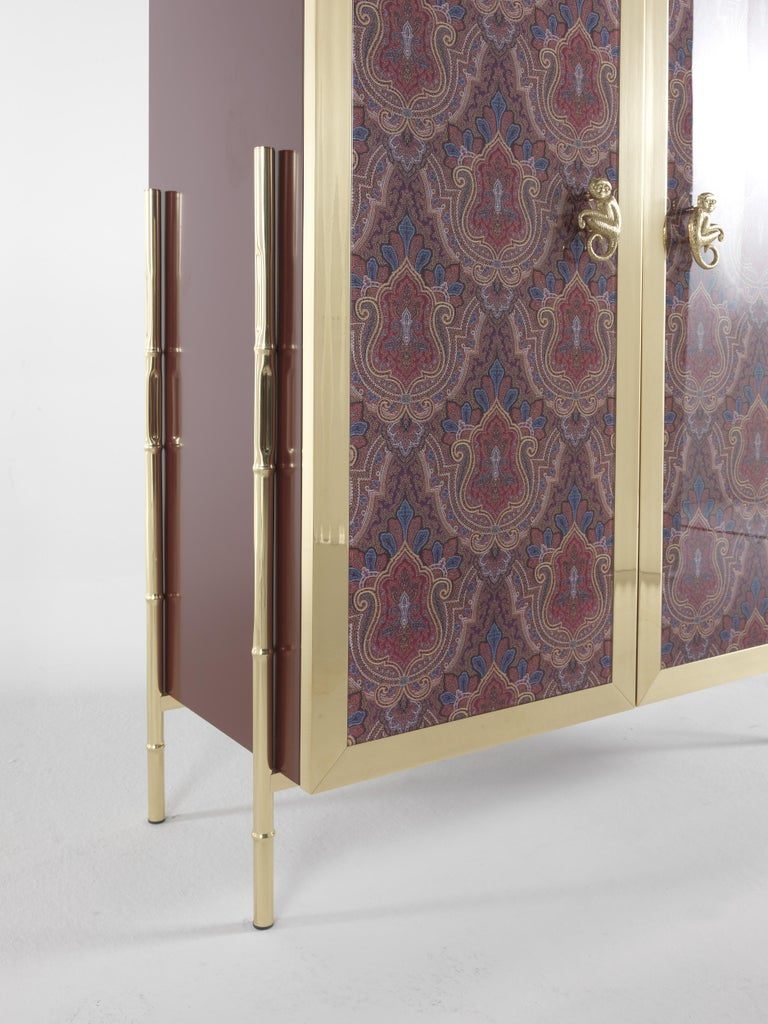 Etro Janis Cabinet in Wood and Polished Brass For Sale 3