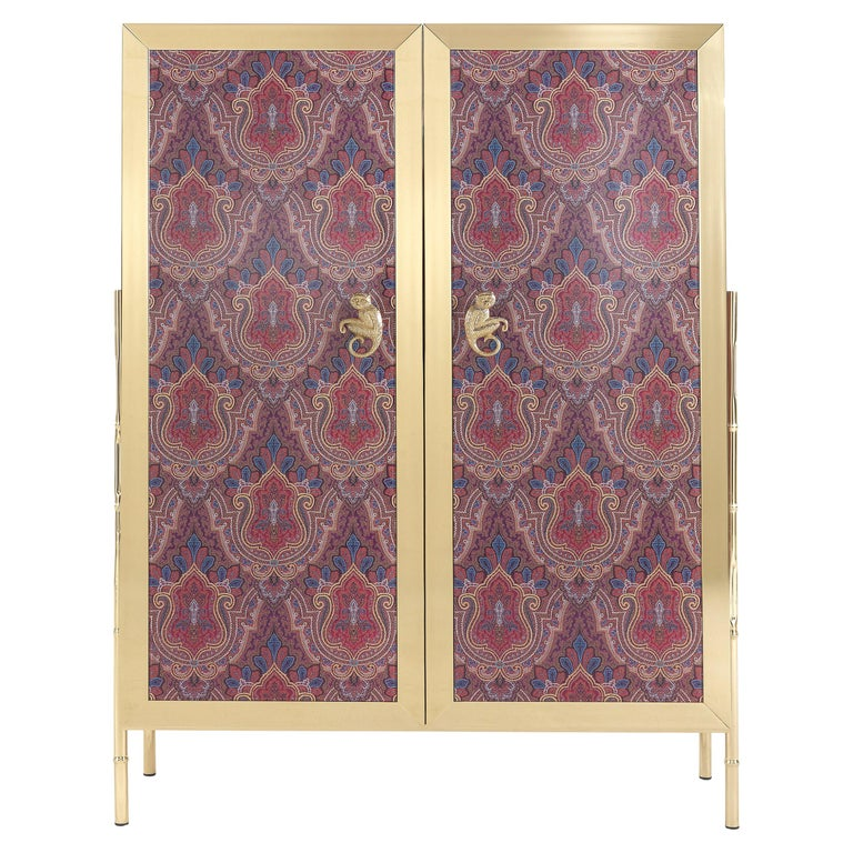 Etro Janis Cabinet in Wood and Polished Brass For Sale