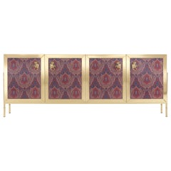 Etro Home Interiors Janis Sideboard in Brass and Cherry Red Lacquered Wood