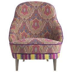 Etro Home Interiors Jefferson Armchair in Wood and Fabric