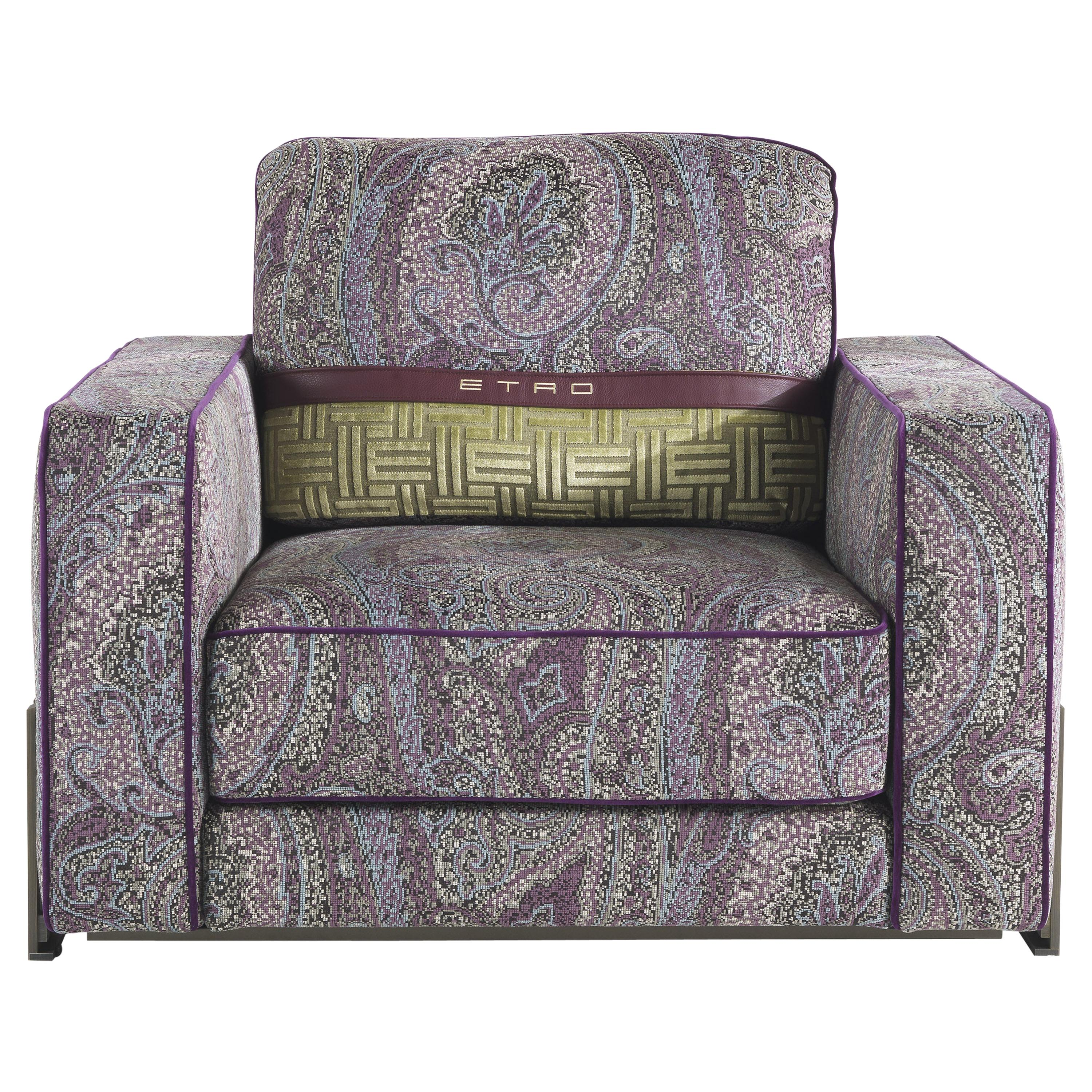 Etro Home Interiors Klee.2 Armchair in Metal and Fabric