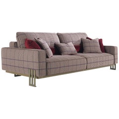 Etro Home Interiors Klee 3-Seat Sofa in Metal and Fabric