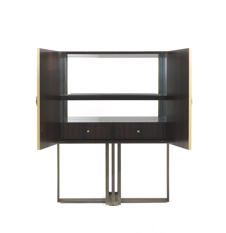 Modern Etro Klee Bar Unit in Wood and Metal For Sale