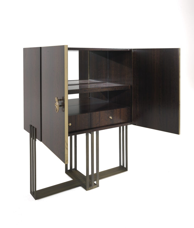 Italian Etro Klee Bar Unit in Wood and Metal For Sale