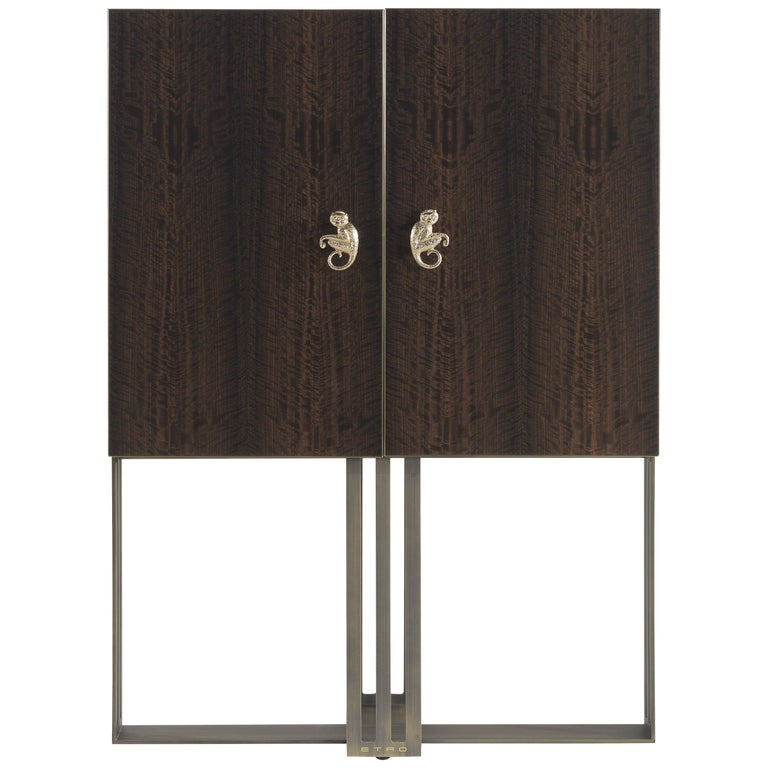 Etro Klee Bar Unit in Wood and Metal For Sale