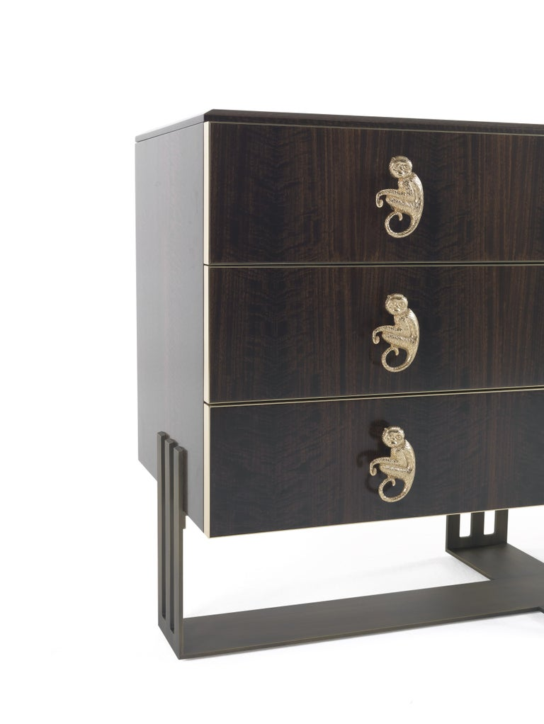 Modern Etro Klee Chest of Drawers in Wood and Polished Brass For Sale