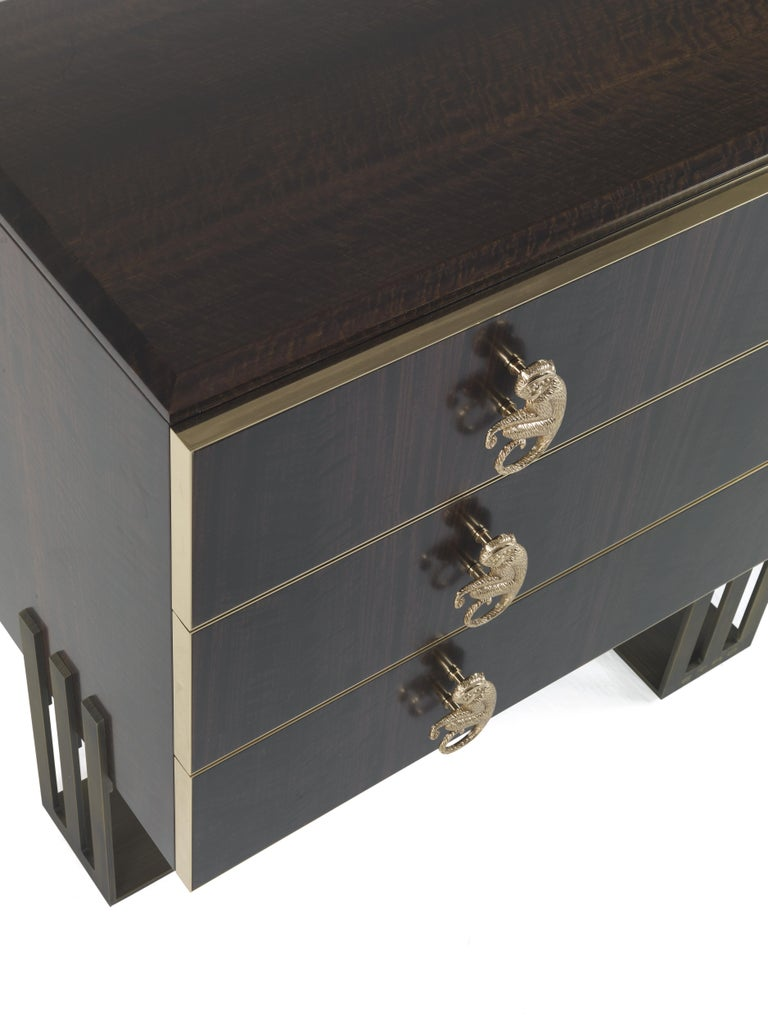Italian Etro Klee Chest of Drawers in Wood and Polished Brass For Sale