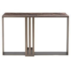 Etro Klee Console in Metal and Eramosa Pass Cut Marble Top