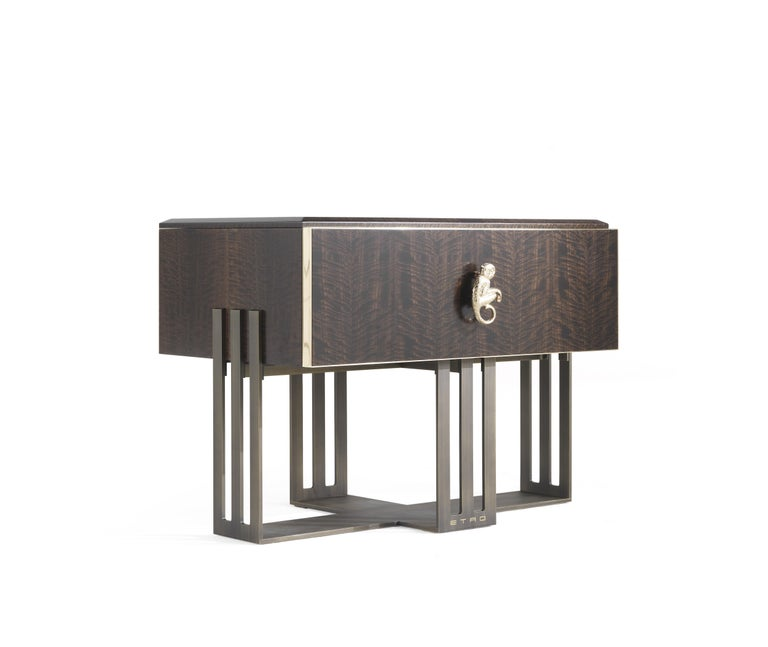Modern Etro Klee Night Table in Wood and Polished Brass For Sale