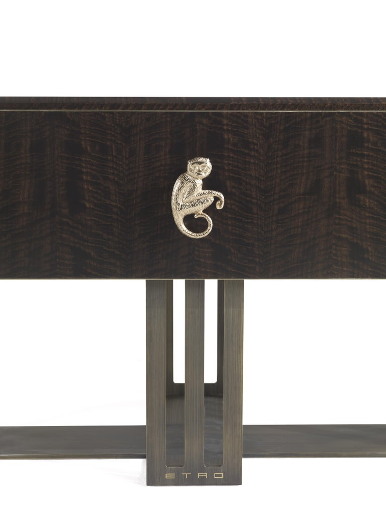 Italian Etro Klee Night Table in Wood and Polished Brass For Sale