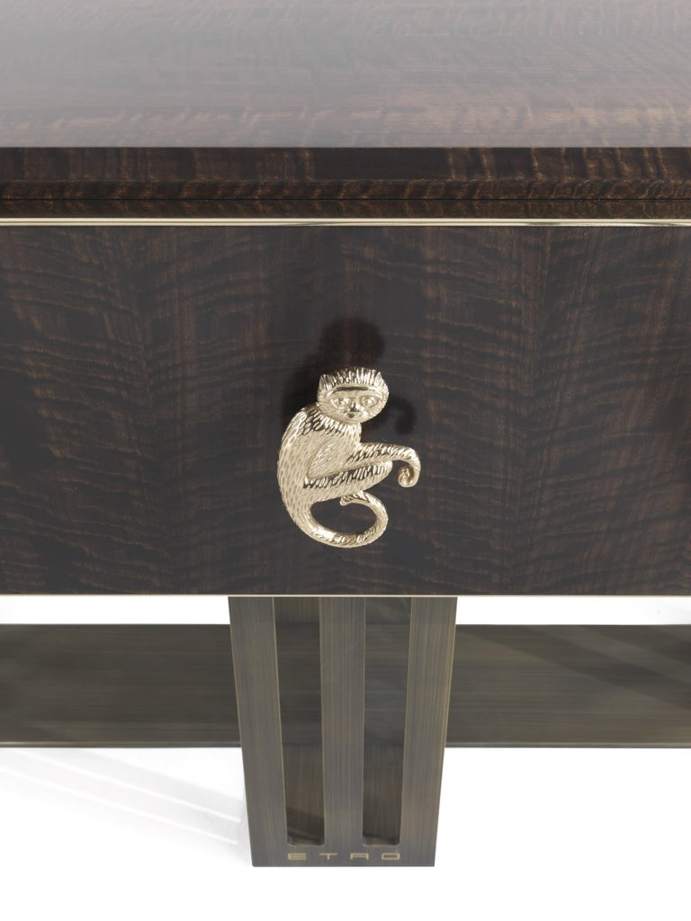 Etro Klee Night Table in Wood and Polished Brass In New Condition For Sale In Cantu, IT