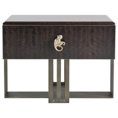 Etro Klee Night Table in Wood and Polished Brass
