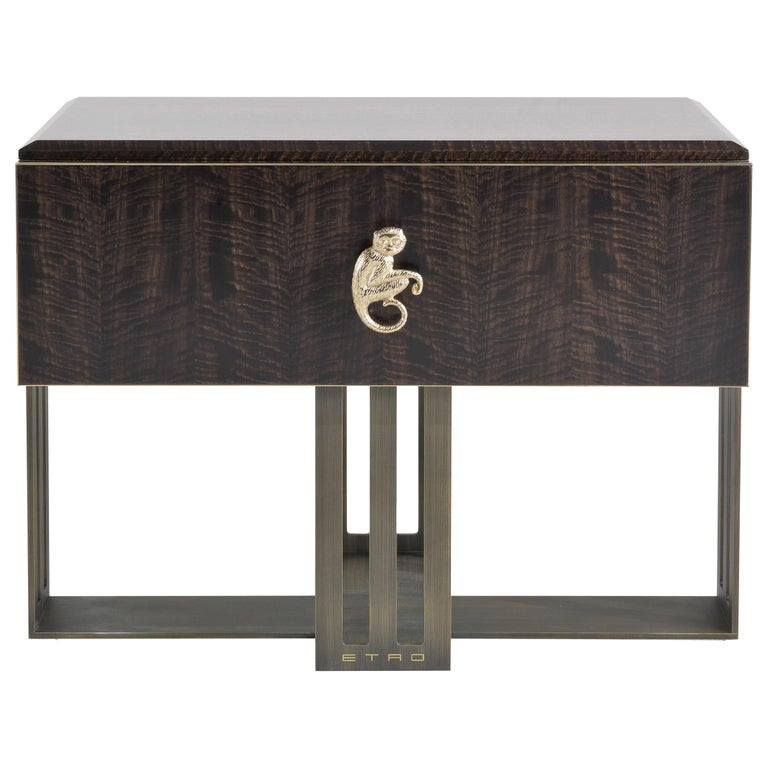Etro Klee Night Table in Wood and Polished Brass For Sale