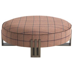 Etro Klee Pouf in Houndstooth Print and Metal
