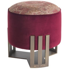 Etro Klee Pouf in Paisley Print and Metal