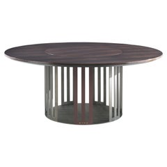 Etro Home Interiors Klee Round Dining Table in Wood and Bronze