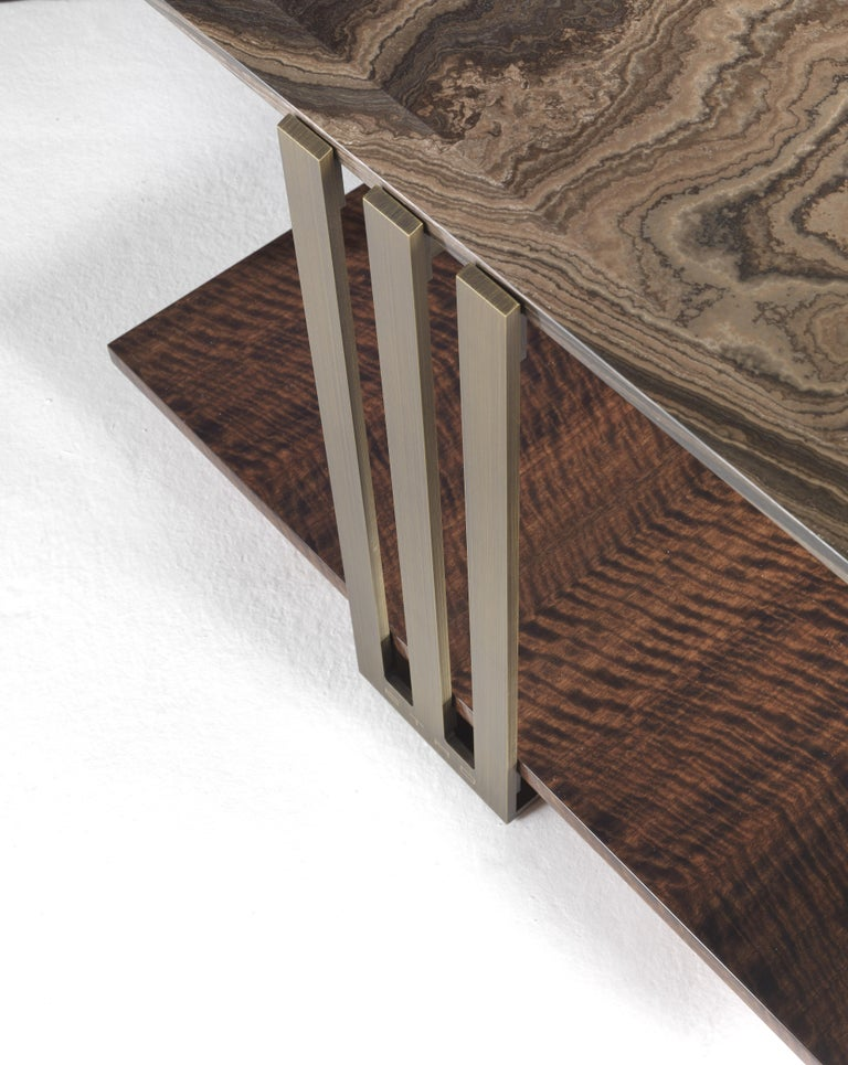 Modern Etro Home Interiors Klee Small Table in Metal and Marble For Sale