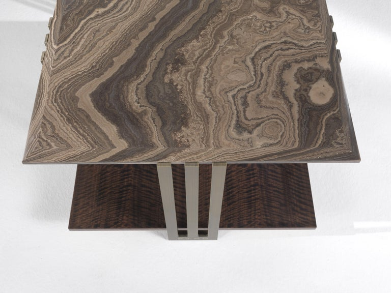 Italian Etro Home Interiors Klee Small Table in Metal and Marble For Sale