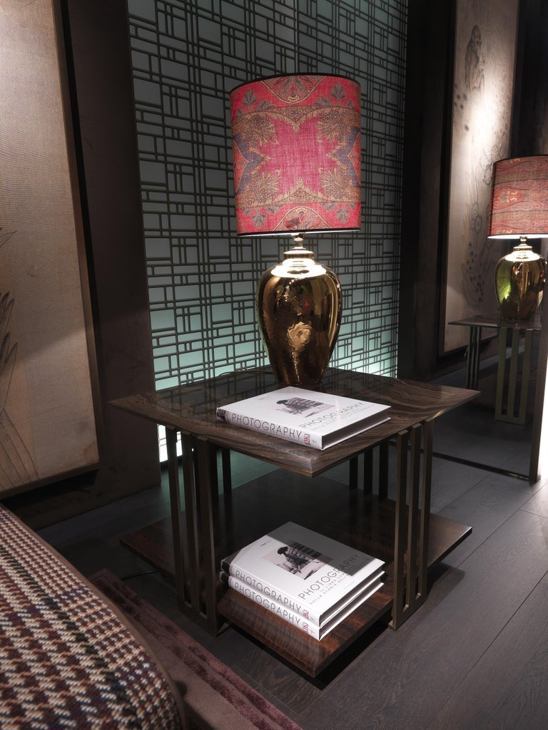 Etro Home Interiors Klee Small Table in Metal and Marble In New Condition For Sale In Cantu, IT