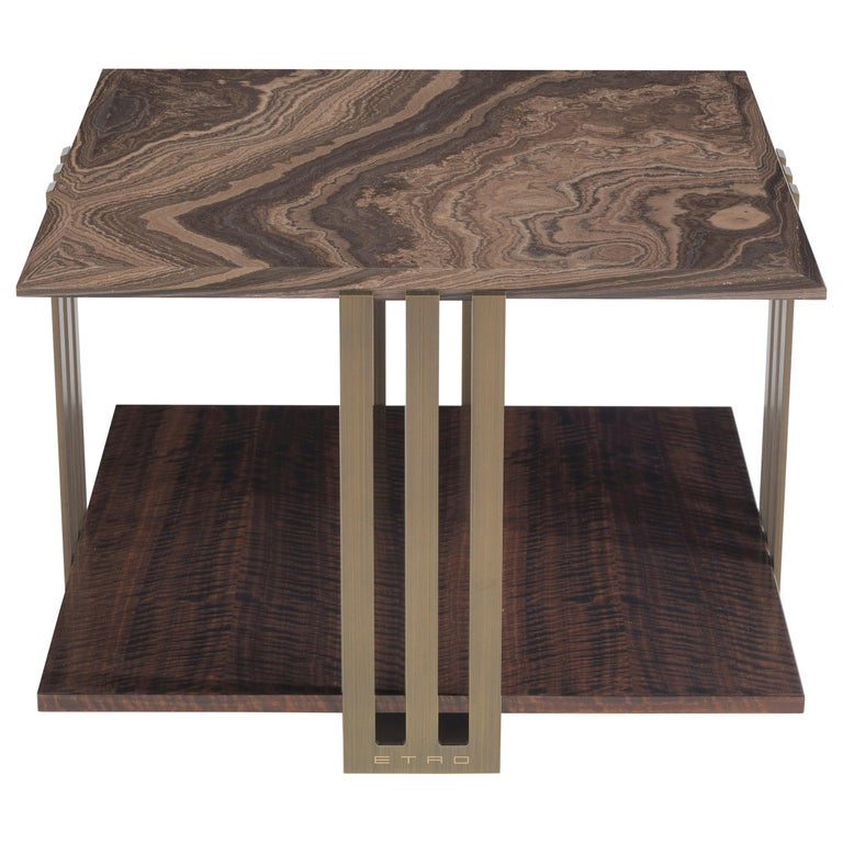 Etro Home Interiors Klee Small Table in Metal and Marble For Sale