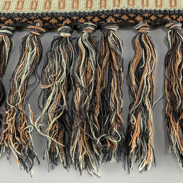 ETRO Knitted Navy Black & Copper Teal Stripe Wool Blend Sparkle Knit Fringe Scar In Excellent Condition For Sale In San Francisco, CA