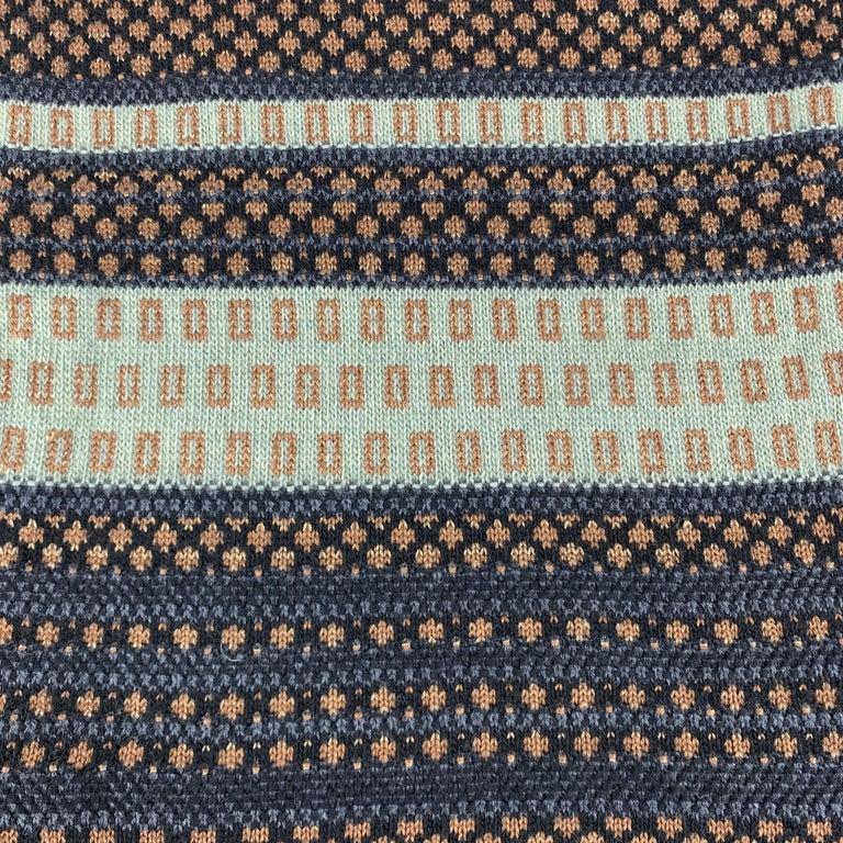 Men's ETRO Knitted Navy Black & Copper Teal Stripe Wool Blend Sparkle Knit Fringe Scar For Sale