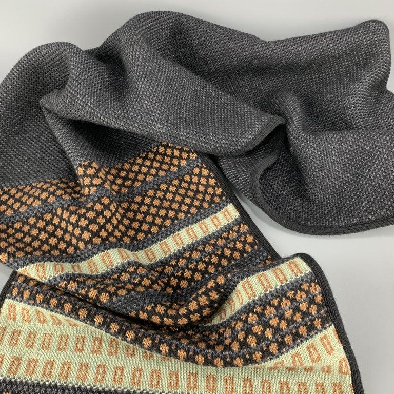 ETRO Knitted Navy Black & Copper Teal Stripe Wool Blend Sparkle Knit Fringe Scar For Sale 1