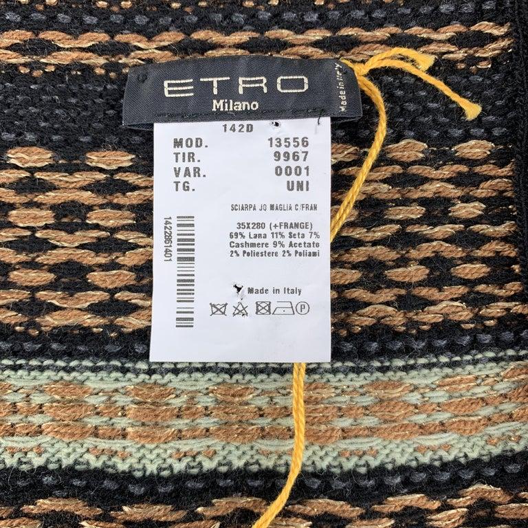 ETRO Knitted Navy Black & Copper Teal Stripe Wool Blend Sparkle Knit Fringe Scar For Sale 2
