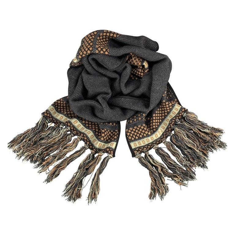 ETRO Knitted Navy Black & Copper Teal Stripe Wool Blend Sparkle Knit Fringe Scar For Sale