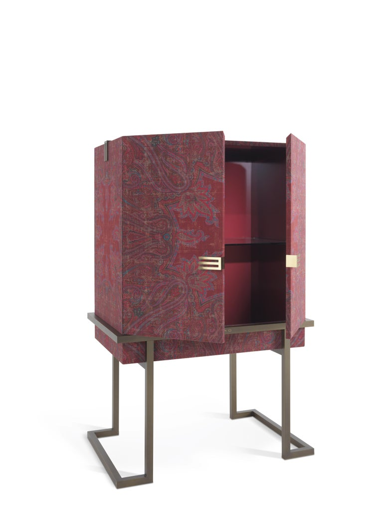 Italian Etro Kolkata Cabinet in Wood and Metal For Sale