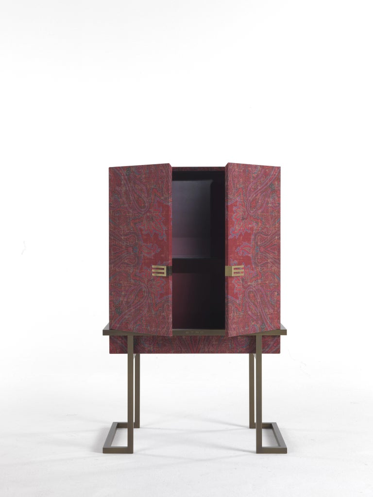 Patinated Etro Kolkata Cabinet in Wood and Metal For Sale