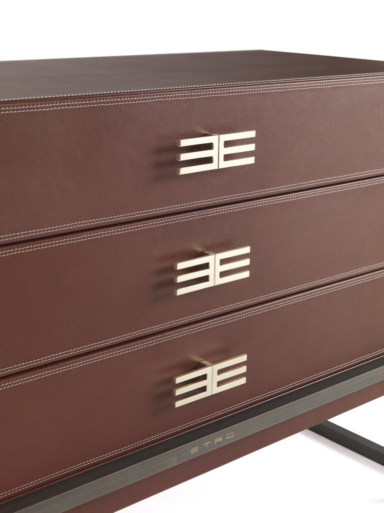 Italian Etro Kolkata Chest of Drawers in Metal and Leather For Sale