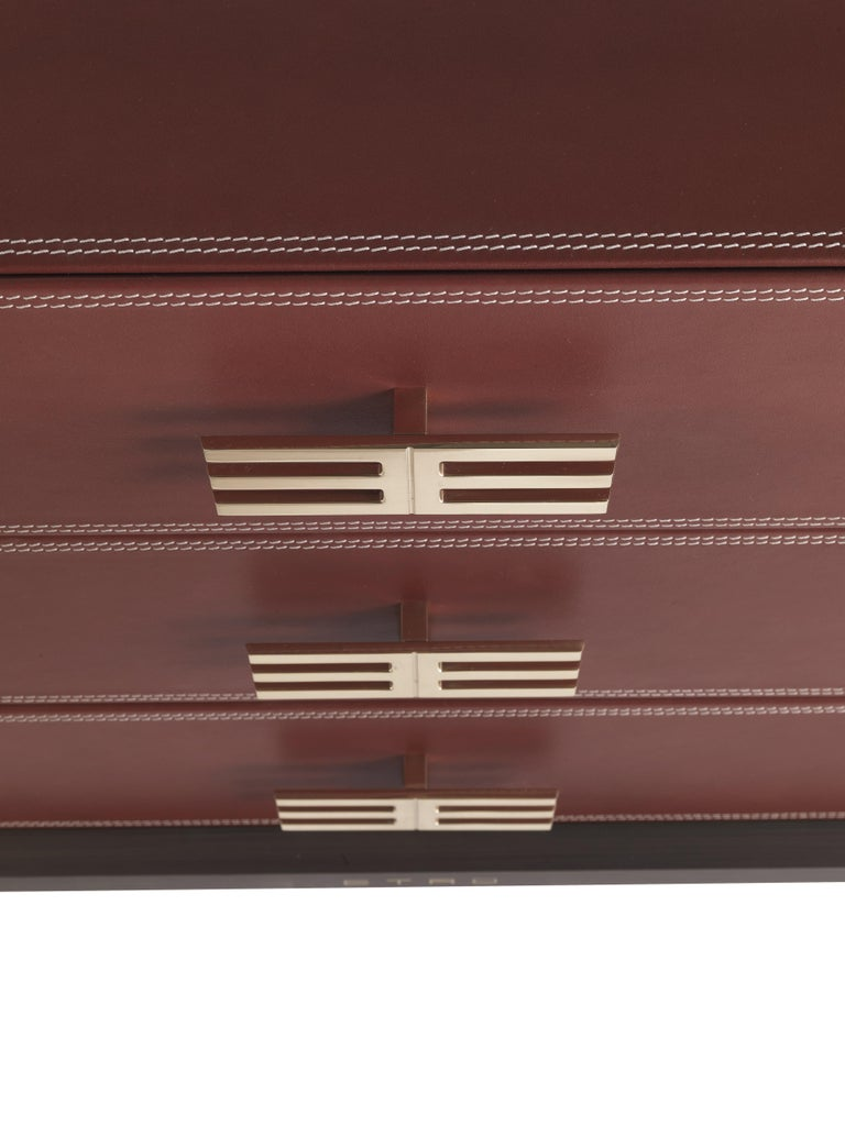 Etro Kolkata Chest of Drawers in Metal and Leather In New Condition For Sale In Cantu, IT