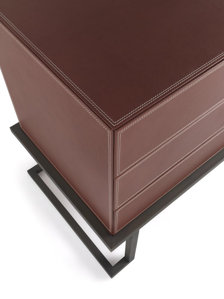Contemporary Etro Kolkata Chest of Drawers in Metal and Leather For Sale