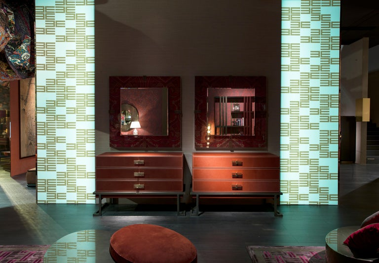 Etro Kolkata Chest of Drawers in Metal and Leather For Sale 2