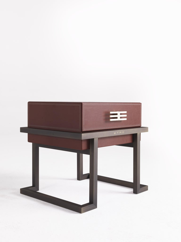 Modern Etro Kolkata Night Table in Metal and Leather For Sale