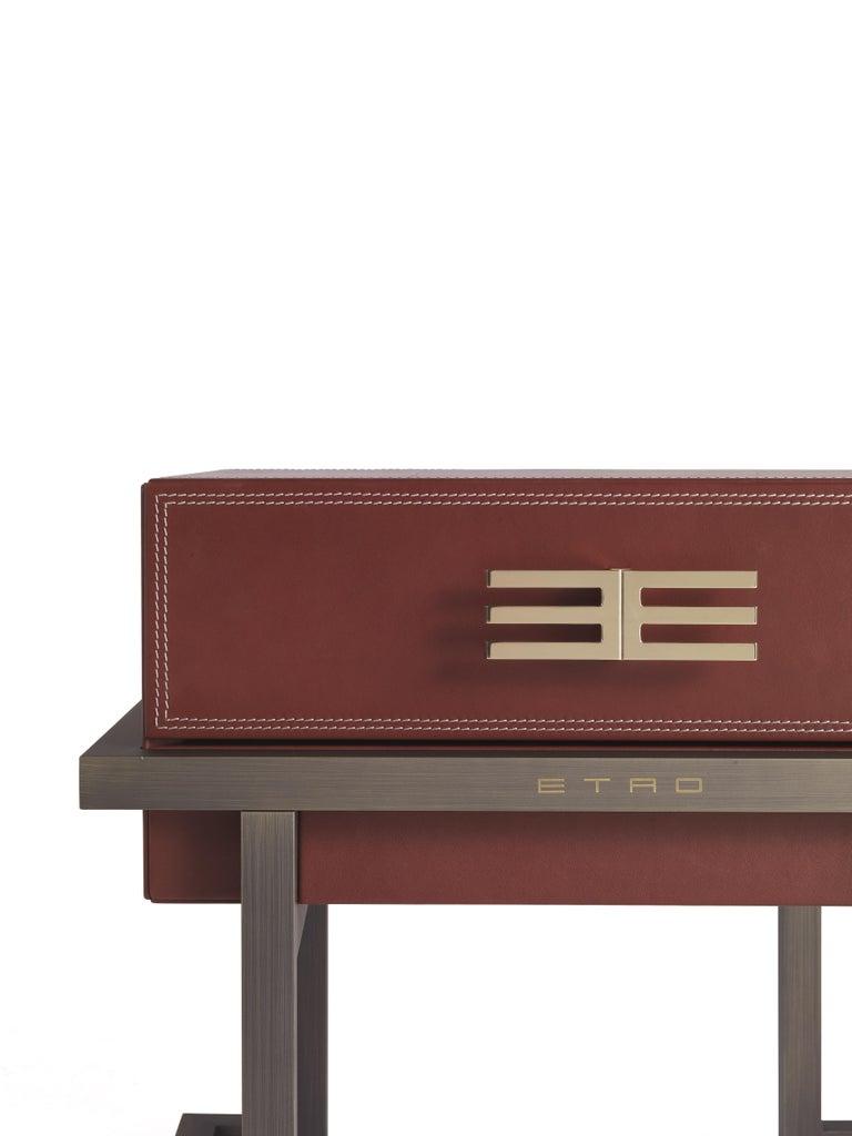 Italian Etro Kolkata Night Table in Metal and Leather For Sale