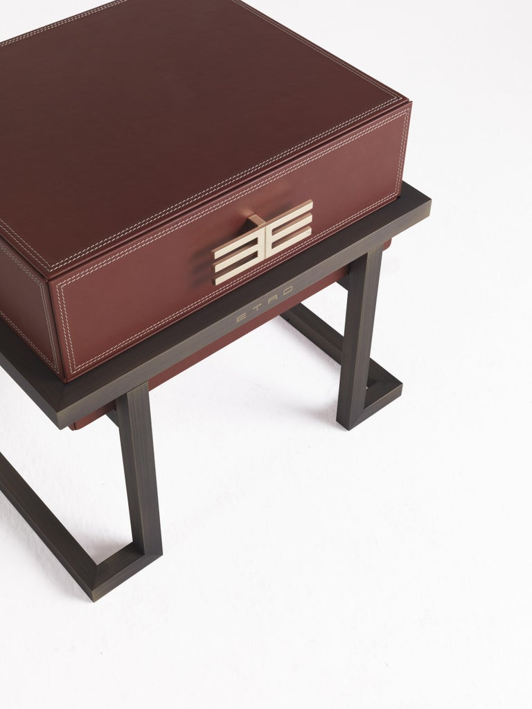 Contemporary Etro Kolkata Night Table in Metal and Leather For Sale