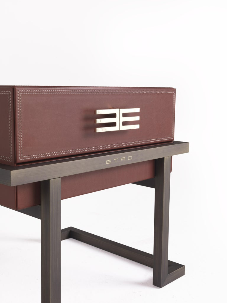 Etro Kolkata Night Table in Metal and Leather For Sale 2