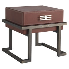 Etro Kolkata Night Table in Metal and Leather