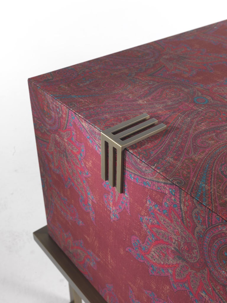 Modern Etro Kolkata Sideboard with 2 Doors in Metal and Wood For Sale